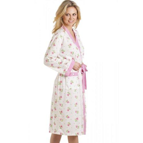 Albornoz - Estampado floral - Blanco y rosa BLANCO