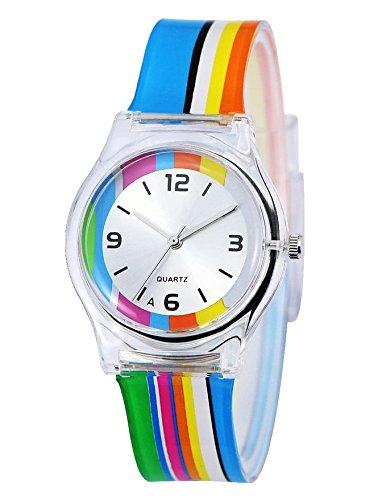 (Zeiger Girls Easy Read Young Children Teen Wrist Kids Watches, Color Wheel Rainbow Band)