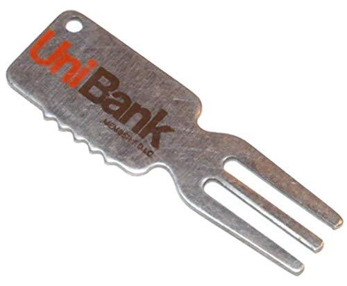 (Vintage UniBank Golf Club Head Cleaner Ball Mark Repair Tool Keychain)