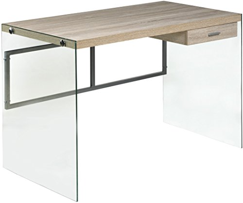 OneSpace 50-JN19DSKLO Escher Skye Computer/Writing Desk, Glass and Wood, Light Oak (Glass Modern Desk)