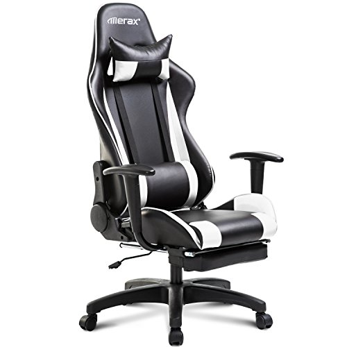 Merax Racing Gaming Chair Office Chair Swivel Computer Chair with Footrest (White and Black) by Merax