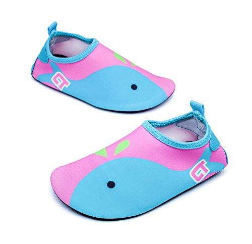 Giotto Wassersport Barefoot Aerobic Schuhe Leichte Quick-Dry Aqua Socken für Beach Pool Swim Yoga A1-Rosa / Blau