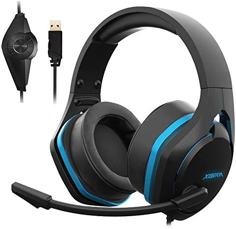 Jeecoo Xiberia V22 Gaming Headset for PC- Deep Bass 3-D Surround Sound- USB Headphones with Noise Cancelling Microphone RGB Lights Plug & Play for Laptops Computers