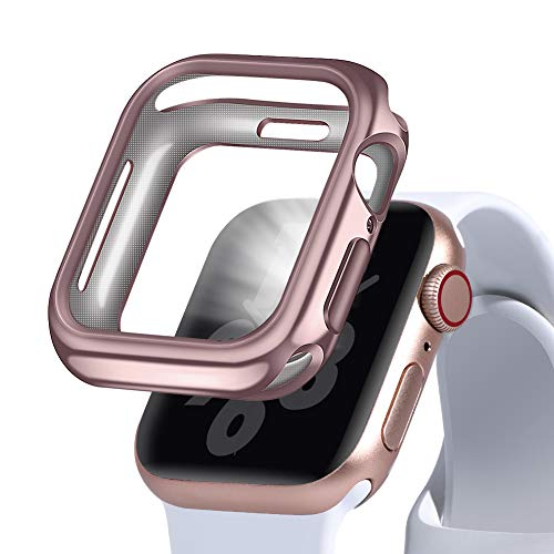 OriBear Case for Apple Watch 4 Case 44mm, iWatch All Around Protective Case TPU Clear Cover, Compatible with Apple Watch Screen Protector Case Series 4 (44M Rose Gold)