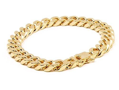 Gold Bracelet Link 14k Rose - Mens 14k Gold Plated Heavy Thick Cut Hip Hop Bracelet Cuban 10mm