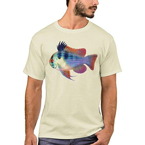 Zazzle Men's Basic T-Shirt, German Blue Ram Cichlid T-Shirt, Natural (Cichlid Natural)
