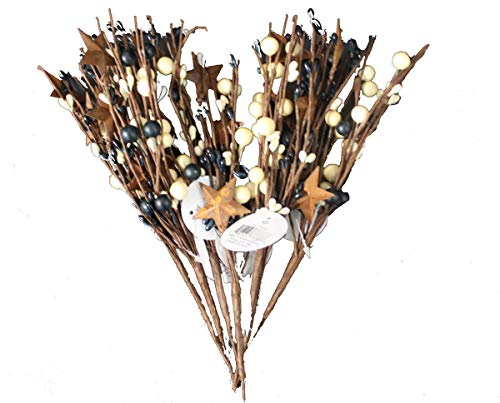 OBI Pip Berry Metal Star Picks Set of 6-9inch Twigs - Mini Artificial Plant Stem for Vases or Crafts - Country Primitive Floral Home Wedding Decor