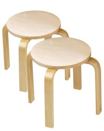 Anatex Wooden Sitting Stools (Set of 2)