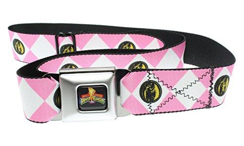 Power Rangers Logo Ranger Diamonds Adult Seatbelt Belt (Pink) (Power Ranger Belt)