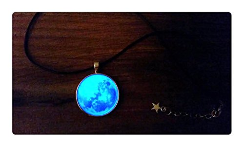 Glowing Moon Necklace, Glow in the Dark Space Necklace, Galaxy Nebula Star Necklace, Glowing Galaxy Choker Planet Necklace