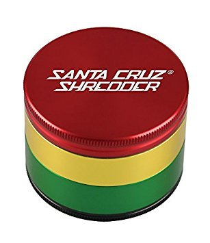 Aluminum 4 Piece - Santa Cruz Shredder 4 Piece Rasta Colored Aluminum Grinder - Large 70mm 3 Stage Sifting Grinder - 2.75 Inches Wide