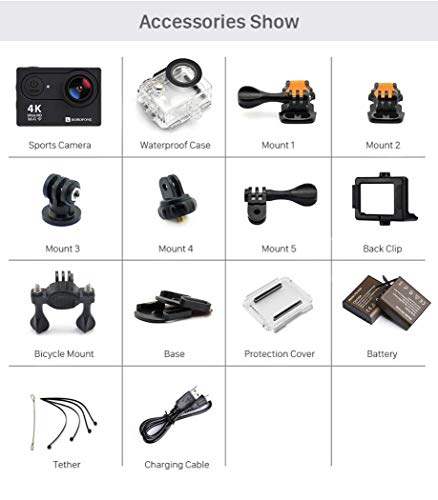 Action Camera, 4K WiFi Ultra HD Video Camera Waterproof DV Recorder 12MP Diving Camera by BOROFONE (Image #4)