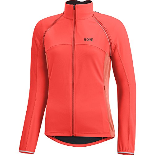 GORE Wear Women's Windproof Cycling Jacket, Removable Sleeves, GORE Wear C3 Women's GORE Wear WINDSTOPPER Phantom Zip-Off Jacket, Size: L, Color: Lumi Orange/Coral Glow, 100191 by GORE WEAR (Image #1)