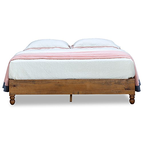 MUSEHOME 12 Inch Wood Bed Frame Rustic Style Eliminates the Need for a Boxspring, Natural Pine Finish, Twin