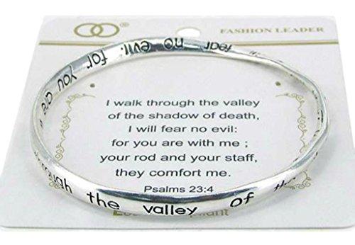- Fashion Beautiful Silvertone Psalms 23:4 Verse Inspirational Message Bangle Bracelet (with Gift Box)
