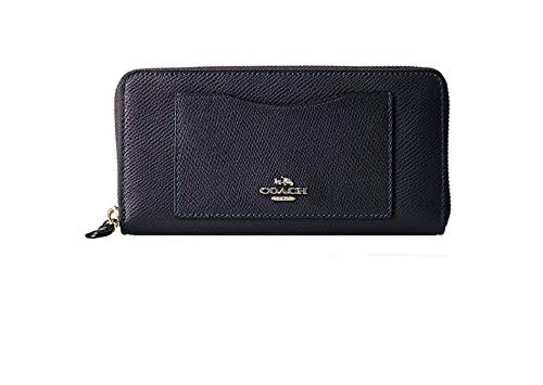 Coach Accordian Leather Zip Wallet in Black and Silver - #F54007