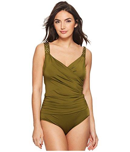 - Jantzen Women's Solid Novelty Shoulder Draped Surplice One Piece Swimsuit, Olive Me, 8