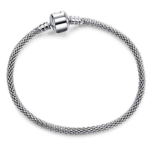 17 21cm Silver Snake Chain Link Bracelet Fit European Charm Brand Bracelet for Women DIY Jewelry Making,Antique Bronze Plated,21cm