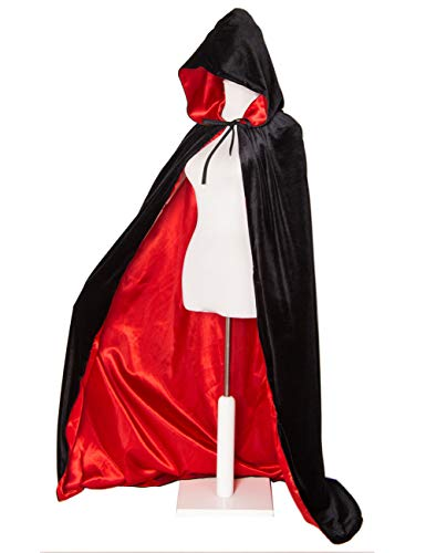GRACIN Adult Velvet Hooded Cloak, Halloween Vampire Cape Medieval Cloak Lined with Satin (Large, Black Red)