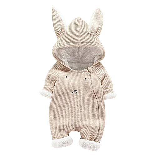 Suma-ma Clearance Winter Plus Plush Solid Bunny Hoodie Romper Outfit for Infant Newborn Baby Boys Girls 6-24M