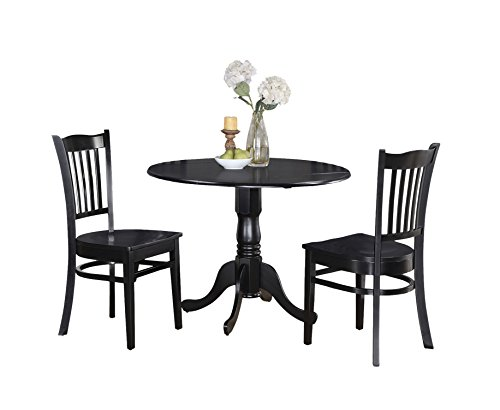 Black Pedestal Dining Sets (East West Furniture DLGR3-BLK-W 3-Piece Kitchen Table and Chairs Set, Black Finish)