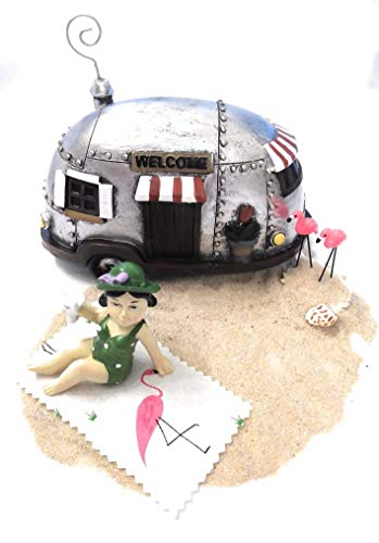 (Green-Bathing Beauty Lady Beach/Lake Miniature Fairy Garden Features Trailer, Sand, Flamingos, Shell, TFC Token, Beach Towel and Lady in Green Swimsuit Holding a Tropical Drink)