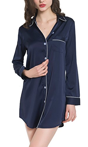 Women Silk Satin Long Sleeve Pajama Top Button-Up Luxury Sleepwear Sleep Shirt Dress (S, Navy) (Satin Sleepshirt)