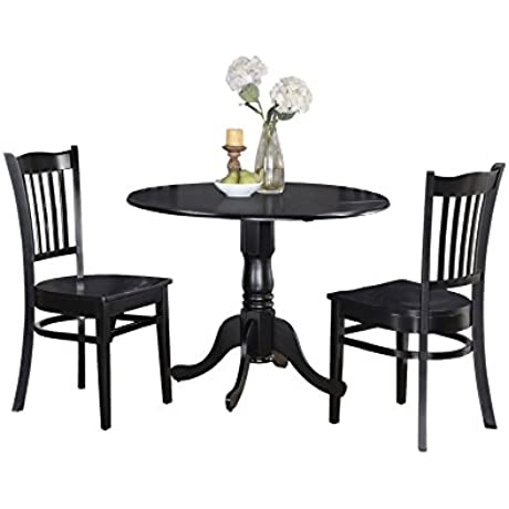 East West Furniture DLGR3 BLK W 3 Piece Kitchen Table And Chairs Set Black Finish
