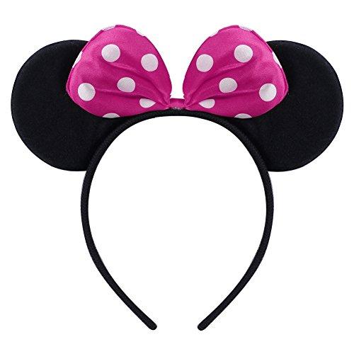 Kid Girl Minnie Costume Tutu Dress Ear Headband Outfit Summer Puff Sleeve Polka Dot Ruffle Bowknot Christmas Halloween Dress Up # Hot Pink 2-3 Years by OBEEII (Image #6)