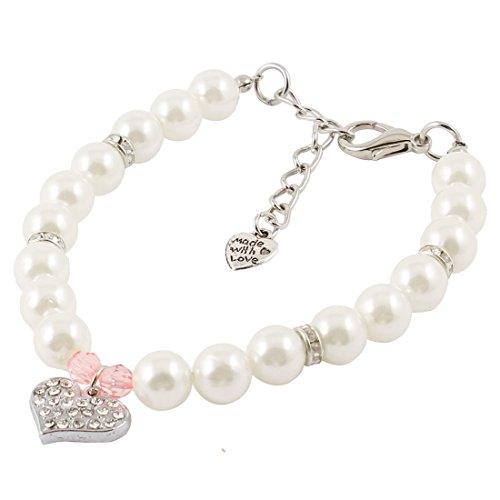 Uxcell Faux imitation pearl Linked Heart Pendant Pet Dog Collar Necklace, Small, White