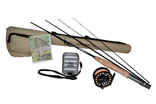 K&E Outfitters Drift Series 3wt Fly Fishing Trout Rod and Reel Combo Package (Silver Reel)