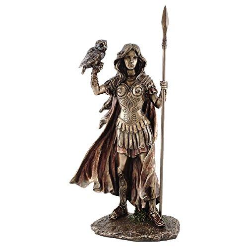 10-inch Tall Athena Goddess of Wisdom, War & the Arts Real Bronze Powder Cold Cast (Roman Goddess Of War)