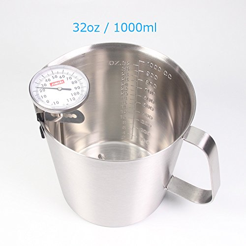 STAR-FIVE-STORE - Combined Sales Frothing Thermometer with Stainless Steel Measuring Cup with Marking and Handle, Perfect Kitchen Tool Kit (32oz Thermometer)