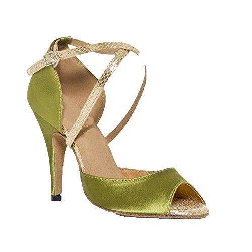 GUOSHIJITUAN Women's Chaussures De Danse Latine,Satin Fond Mou Talons Hauts Salsa Chaussures De Danse Tango Chaussures De Danse Sociale A
