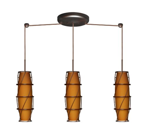 Besa Lighting 3BB-412180B-BR Tutu 3LT Pendant, Amber Matte Art Glass Shades and Cage-B Accessory with Bronze (Amber Matte Tutu)