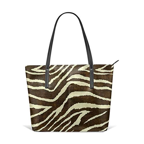 Zebra in winter animal print Leather Tote Large Purse Shoulder Bag Portable Storage HandBags Convenient Shoppers Tote