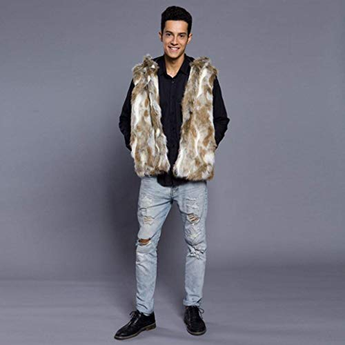 Fur Coat Jacket Men Apparel Winter Warm Braun Fashion Vintage Fur Men's Mens Jacket Huixin Autumn T0790 Vest Vest Coat Fur Faux Sleeveless q78xwEHX