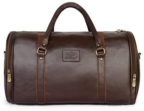 Travel Duffel Bag | 30 ltrs Vegan Leather Duffle Bag | Weekender Bag (Brown)