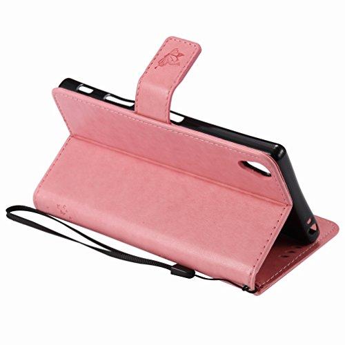 Custodia Sony Xperia Z5 Premium Cover Case, Ougger Alberi Gatto Printing Portafoglio PU Pelle Magnetico Stand Morbido Silicone Flip Bumper Protettivo Gomma Shell Borsa Custodie con Slot per Schede (Ro