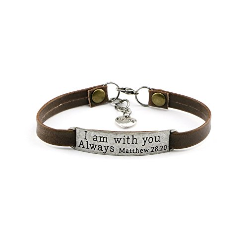 Personalized Religious Jewelry Inspirational Leather Bracelet Engraved I Am With You Always by UNQJRY