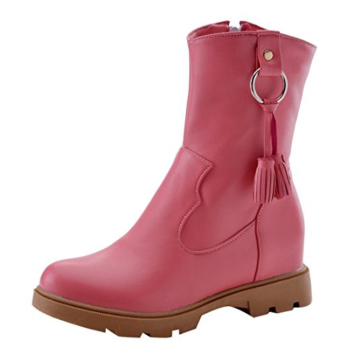 Agodor Womens Flat Platform Mid Calf Boots With Zip Closed-Toe Autumn Winter Shoes Pink uB0TsQ0sT