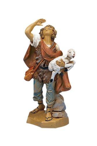 Fontanini Micah the Shepherd Carrying a Sheep Italian Nativity Village Figurine (Fontanini Sheep)