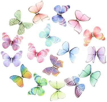 SUPVOX 20 Pcs Stocking Papillons Color/é Papillon Papillon Tissu D/écoratif DIY Accessoires Applique V/êtements Couture Couture 3CM