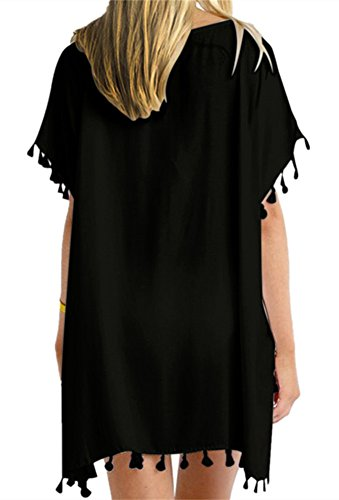 Yincro Women's Chiffon Swimsuit Beach Bathing Suit Cover Ups for Swimwear (Black Tassel, Size B)