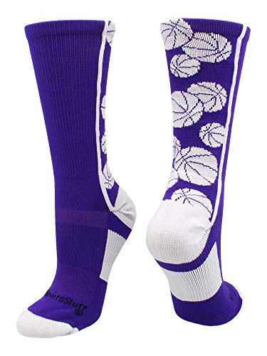 MadSportsStuff Crazy Basketball Logo Crew Socks (Purple/White, Large)