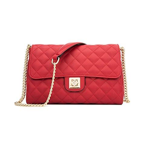 De Cuero Shoulder color Mensajero Hombro Package Jiute Chain Pu Jiute De De Messenger De color Red Red Red Mrs Bag Network La Retro Leather Pu Bolso Retro Cadena De Paquete Sra fXzwE