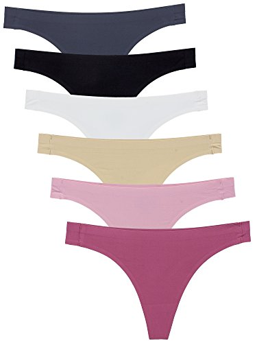 Barbra's 6 Pack Invisible No-Show Thong Seamless Bamboo Gusset Panties (X-Large, Sports Thong)