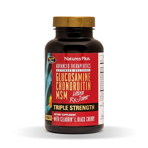 Natures Plus Triple Strength Ultra RX Joint Tablets - Glucosamine/Chondroitin/MSM with Celadrin & Black Cherry - 120 Tablets - High Potency Joint Support Supplement - Gluten Free - 30 - Tablets 120 Plus Joint Support