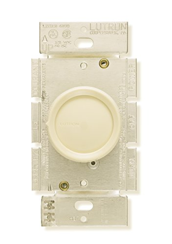 Lutron D-600R-IV Rotary 600W Single-Pole Dimmer with Rotate On/Off Knob, Ivory