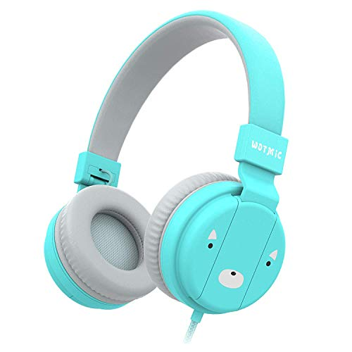Kids Headphones, Wotmic Wired Headset Foldable Children On Ear Headphones with Adjustable Headband, Stereo Sound,3.5mm Jack for iPad Cellphones Airplane School-Blue